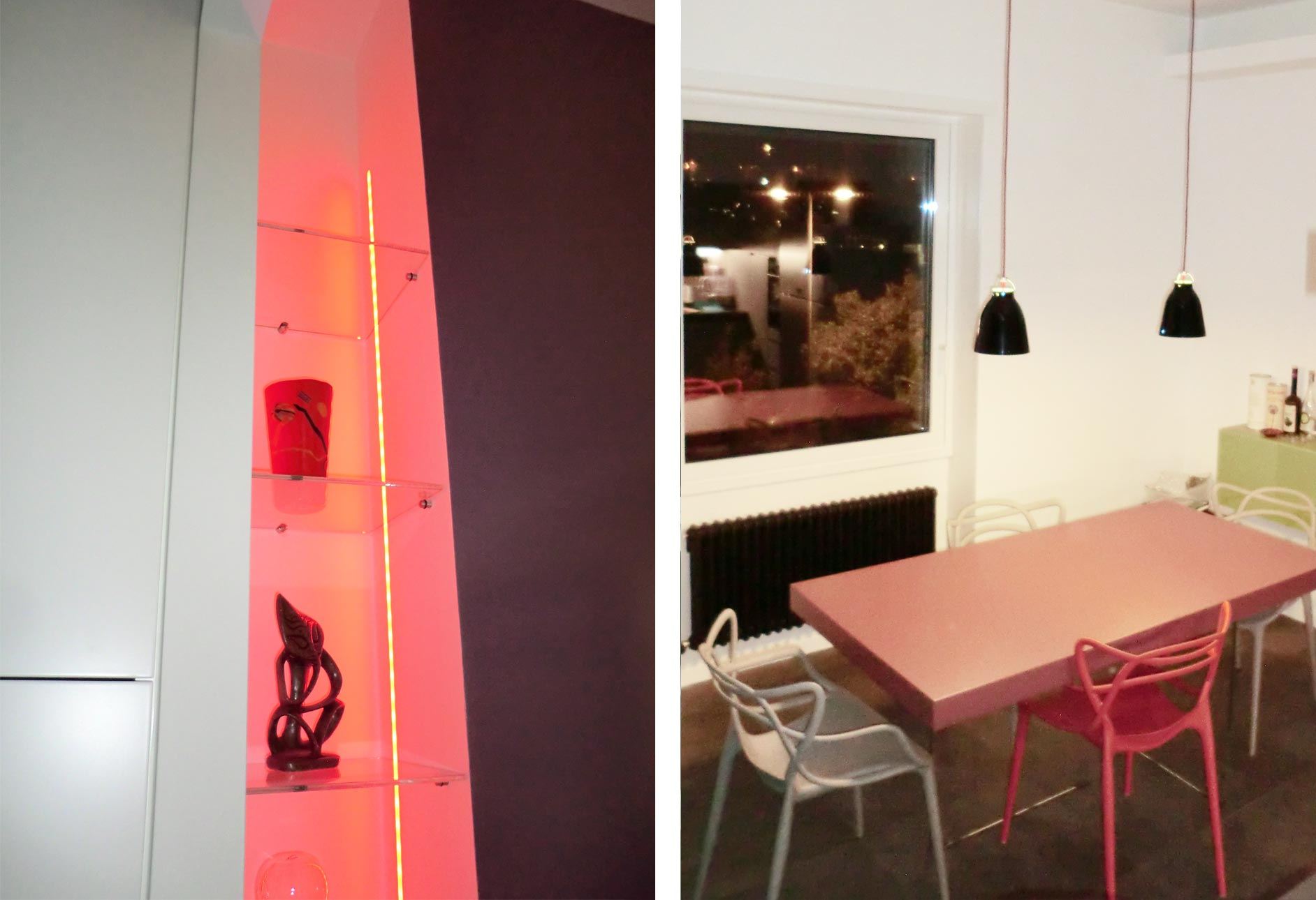 Scelta dei materiali, dei colori e delle finiture. Illuminazione totale con faretti a led e stripled.